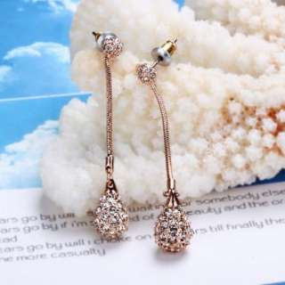 18K rose Gold Plated white Swarovski water drop earrings E11