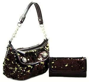 Crossbody Hobo Purse Handbag Wallet SET Bronze