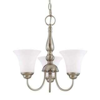 Glomar Dupont 3 Light. Hanging Brushed Nickel Chandelier HD 1901 at