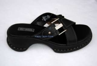 NEW HARLEY DAVIDSON WOMEN BLACK LEATHER CROSS SANDAL FLIP FLOPS CASUAL