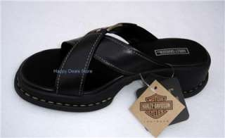 NEW HARLEY DAVIDSON WOMEN BLACK LEATHER CROSS SANDAL FLIP FLOP CASUAL