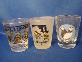 Baltimore Maryland Maine State Shot Glass Glasses 3 Lot