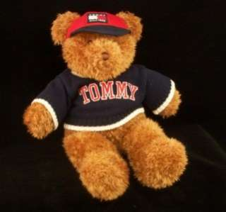 TOMMY HILFIGER STUFFED PLUSH 16 TEDDY BEAR SWEATER CAP