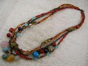 CHICOS Multi Strand, Multi Colored Stone & Bead Necklace (A7)
