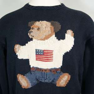 VTG Polo Ralph Lauren Sit Down Bear USA Flag Hand Knit Cotton Sweater