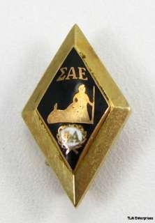 SIGMA ALPHA EPSILON fraternity Gold Black Enamel PIN