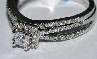SET 14K WHITE GOLD ENGAGEMENT RING + BAND PRINCESS CUT CTR