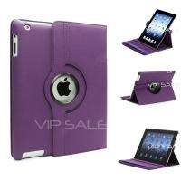 APPLE IPAD 3 BLACK LEATHER CASE WITH 360 ROTATING STAND + SCREEN