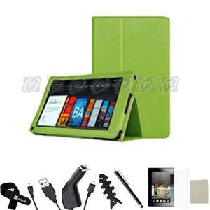 Kindle Fire PU leather Folio Case Cover/Car Charger/USB Cable/Stylus