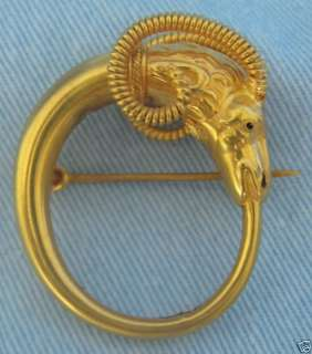 Fine Italian High Karat Gold Castelani Rams Head Pin