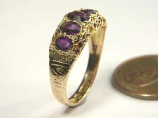 ANTIQUE VICTORIAN ENGLISH 15K GOLD AMETHYST RING c1883 VERY PRETTY