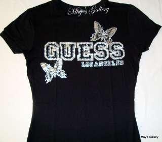 GUESS Rhinestones Blouse T shirt Tee Tank Top T Shirt Woman NWT Black