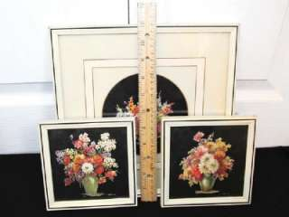 Set of 3 Art DECO Floral Flowers PRINT Wall Hanging Flower by M.BLACK