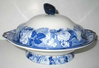 ANTIQUE WOOD BLUE TRANSFERWARE COVERED VEGETABLE BOWL