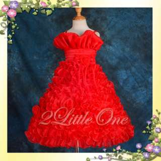 Red Wedding Flower Girl Pageant Party Dress Size 6 7