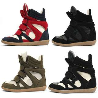 Womens Black High Top Strap Sneakers Shoes US 5~8 / Ladies Velcro