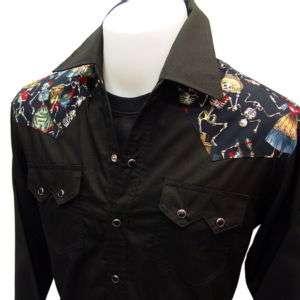 WESTERN CowBoy RockaBilly Skull Mexican VTG Punk Shirt