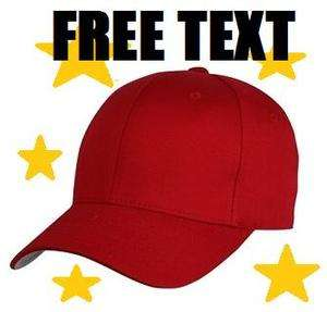 Embroidered RED FLEXFIT Cap Hat FITTED ~ FREE TEXT * YUPOONG Baseball
