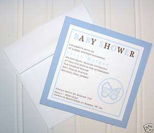 50 Baby Boy Blue & Brown Shower Invitation Personalized