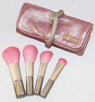 Mally 4 pc Travel Cosmetic Makeup Brush Set Kit w/Pink Roll Bag Case $