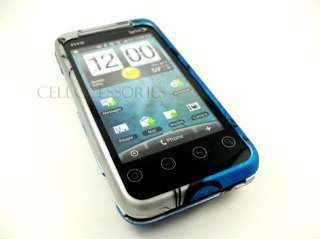 FOR HTC EVO SHIFT 4G BLUE SILVER VINE HARD COVER CASE