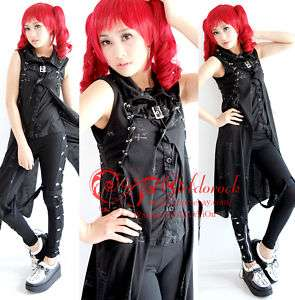KERA PUNK VISUAL KEI chain Swallow BLACK vest LONG M