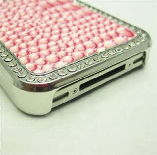 Deluxe Pink Crocodile Pattern Chrome Case Cover Skin for iPhone 4 4S