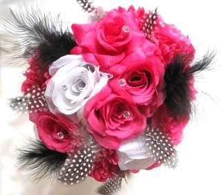 Wedding Bouquet Bridal Silk flowers HOT PINK FUCHSIA WHITE BLACK 17pc