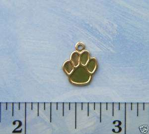 NEW 12 Brass Small DOG PAW PRINT Charms (BG)