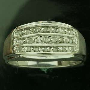 10K White Gold Mens Satin Diamond Ring