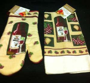 NEW Set with Oven Mitt and Kitchen Towel   Wine Theme