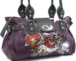 Skull Heart Satchel Handbag Purse Loved N Lost Shoulder Bag