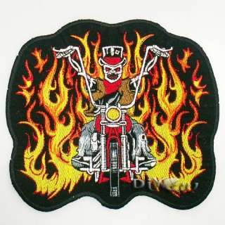 Motocycle Fire Flaming Skull Biker Chopper Iron Patch