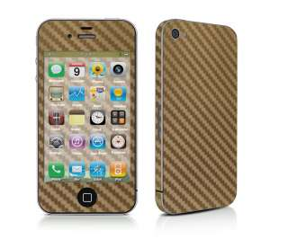 CARBON FIBRE STYLE SKIN STICKER KIT FITS IPHONE 4 GOLD