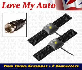 ANT29db Plus Funke Twin Dual DVBT HD Car TV Antenna Kit F Connector
