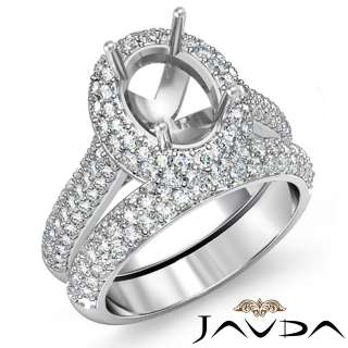 Diamond Ring Oval Bridal Mount 18k White Gold s5.5 Engagement