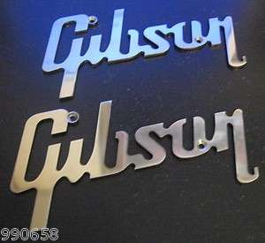 Gibson Logo/Emblems STAINLESS STEEL Lot of 2 SWEET Pieces 4.5in wide