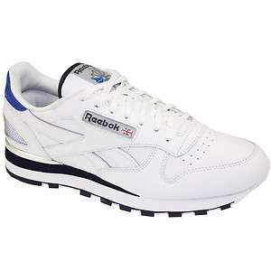 REEBOK MENS CLASSIC LEATHER CLIP TRAINERS SHOES WHITE/BLUE/SILVER