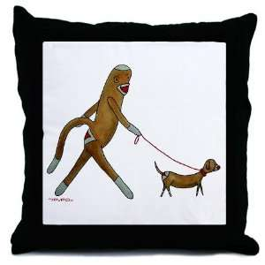Sock Monkey and Dachshund Funny Throw Pillow by CafePress:
