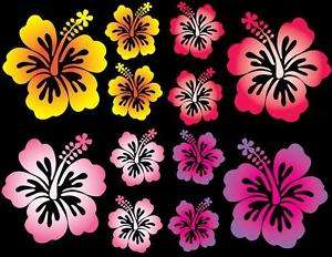 12 Set Hibiscus Flower Car Decals Multi Vinyl Stickers