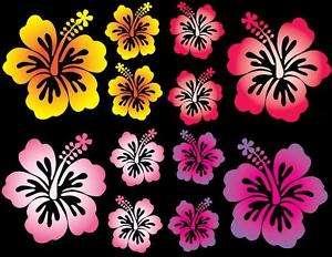12 Set Hibiscus Flower Car Decals Multi Vinyl Stickers