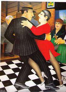 BERYL COOK~TANGO BAR ~DANCING ~SEXY RED DRESS~ STRIPED SUIT~LARGE