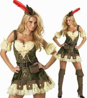 DELUXE LADIES ROBIN HOOD OUTLAW FANCY DRESS COSTUME NEW