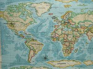 Atlas World Map Azure Designer Cotton Curtain Upholstery Fabric