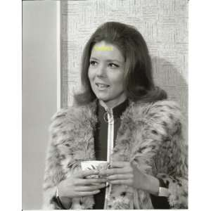 The Avengers Diana Rigg in Fur Coat with cup of tea 8x10