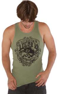 Lucky 13 Mugsy 100 Percent Cotton Olive Green Beater Tank. The Lucky