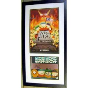 Matt Stone Trey Parker autographed South Park photo framed