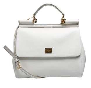 Dolce & Gabbana Miss Sicily White Leather Handbag Purse New Authentic