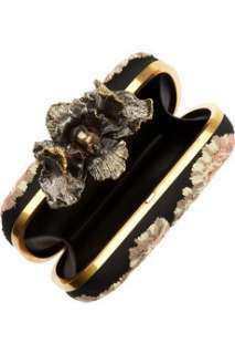 Alexander McQueen Skull and iris embellished embroidered box clutch