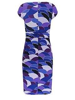 Minuet Petite Blue shell print jersey dress Blue